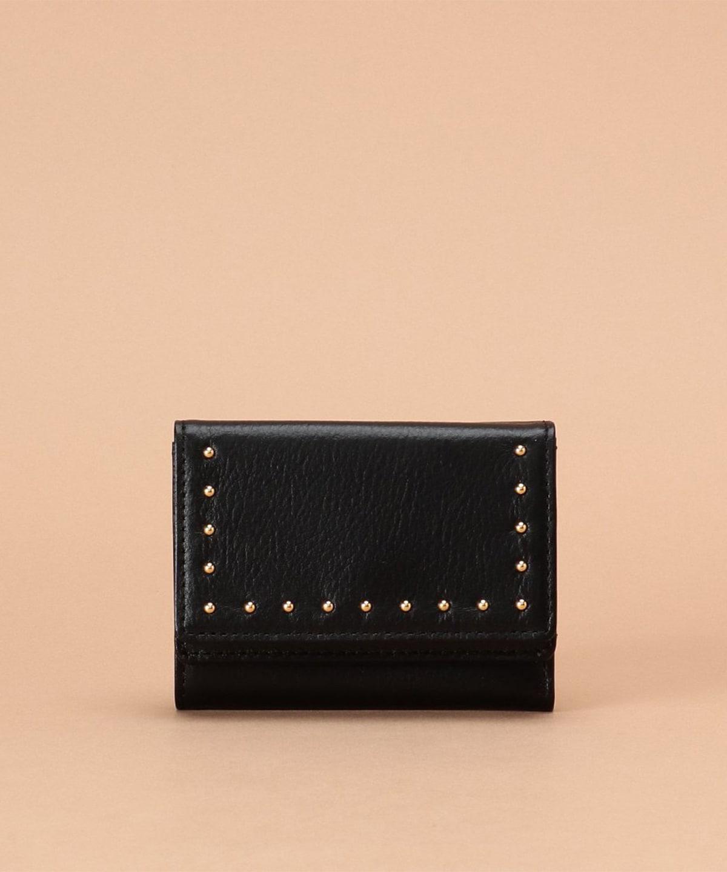 スタッズ付き 三つ折財布