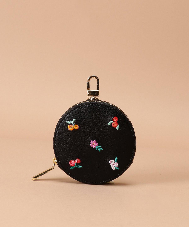 オリジナルフラワー刺繍 サークルポーチ