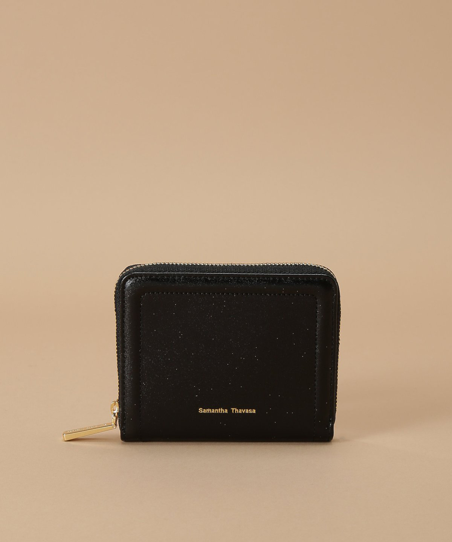 シンプルラメレザー 二つ折り折財布
