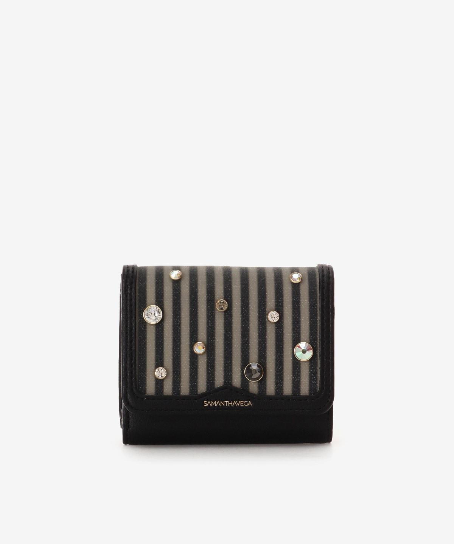 ビジュー付きストライプ柄折財布
