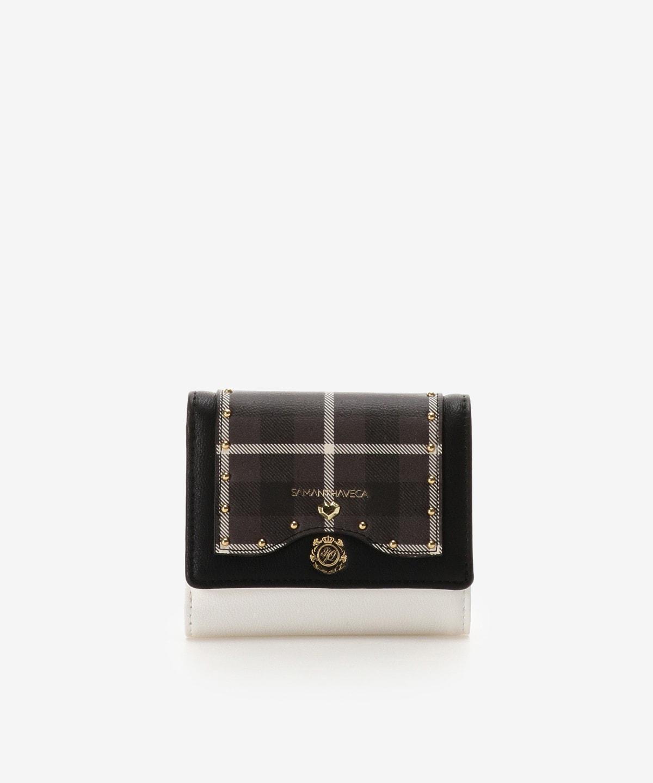 エンブレムモチーフチェック柄折財布