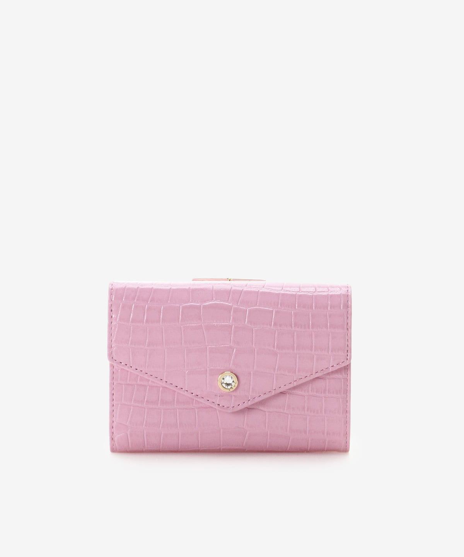 クロコ型押し中折財布