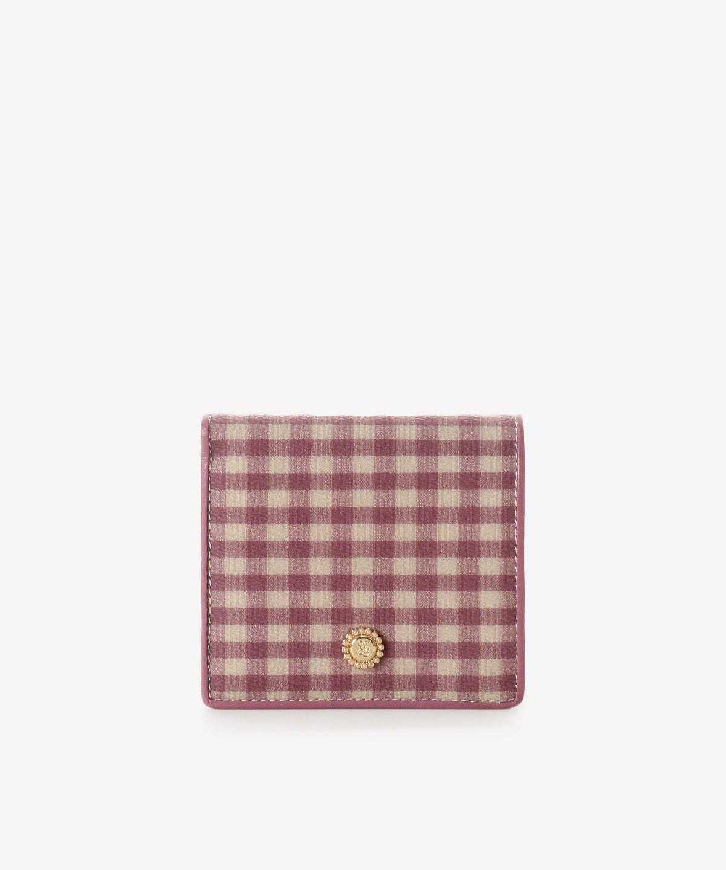 ギンガムチェックBOX型小銭折財布