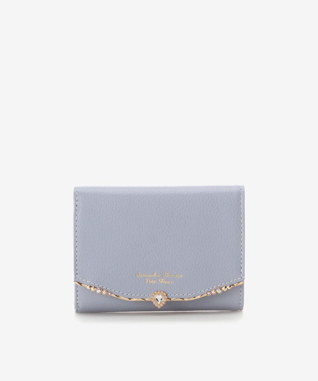 ハートブローチ ビジューバーLジップ折財布
