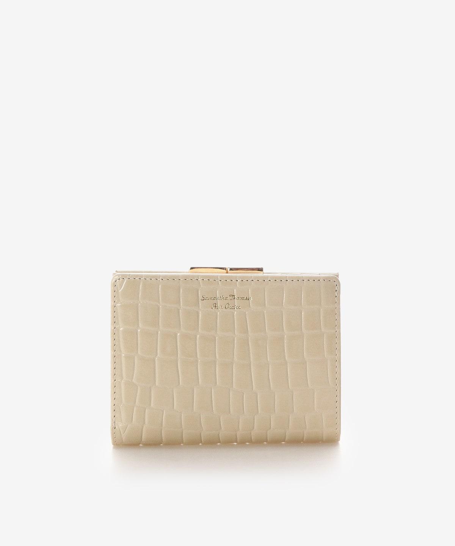 クロコ型押し口金折財布