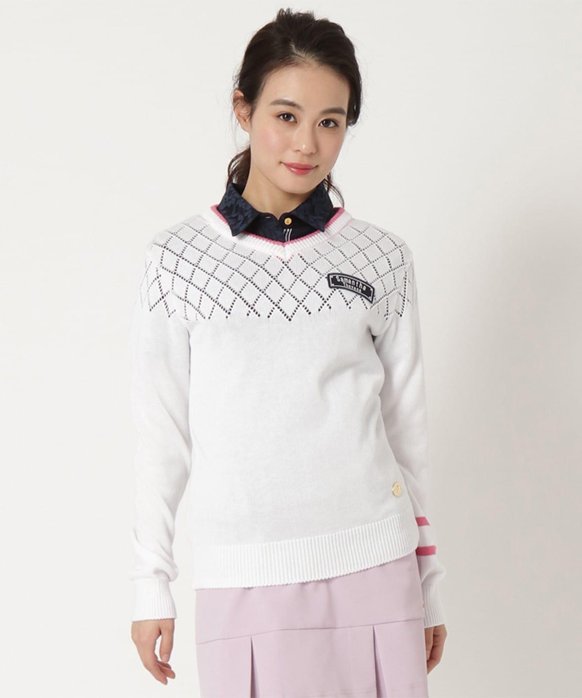 透かし編みロングVセーター