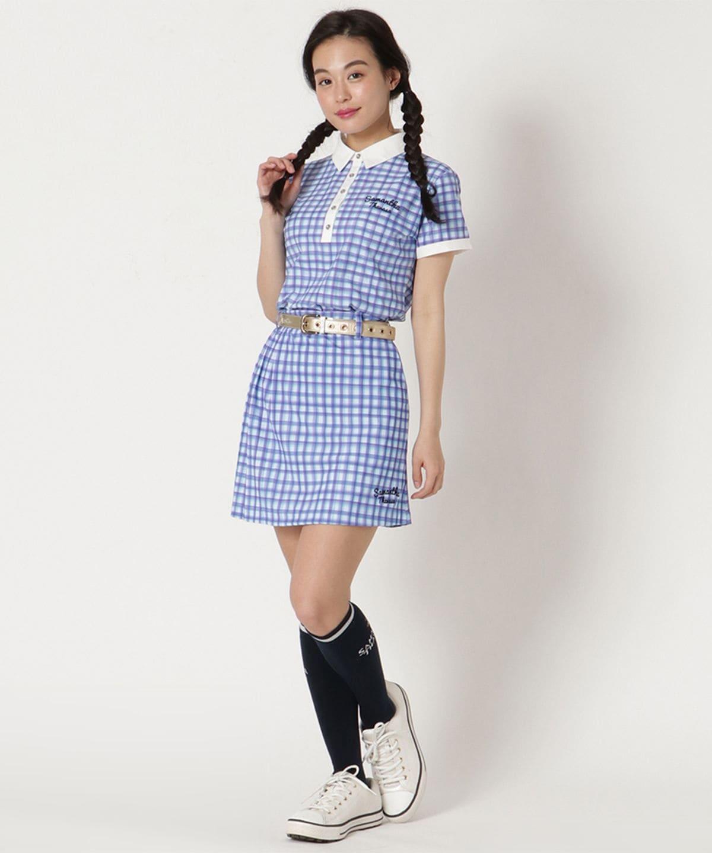 水彩ギンガムサイドプリーツスカート