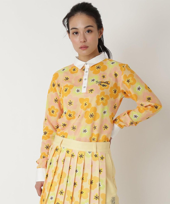 花柄刺繍長袖ポロ
